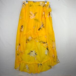 A New Day High Low Skirt Yellow floral Ruffled Med
